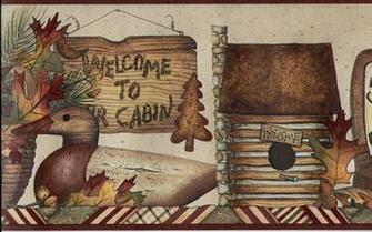 to The Cabin Lantern Log Cabin Fall Leaves Wallpaper Border eBay