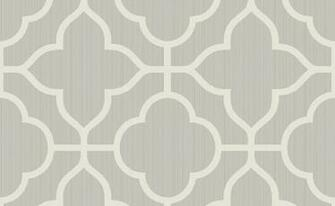 Traditional Ogee White and Grey Wallpaper