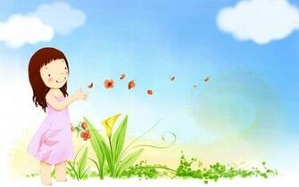 summer happy cute vector girl butterfly flowers sky clouds wallpaper