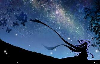Wallpaper the sky girl stars butterfly night art vocaloid