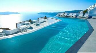 Santorini Hotels HD Wallpaper Background Images