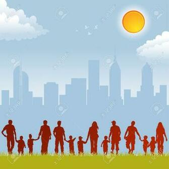 Big Collect Silhouettes Of Parents With Children On Urban