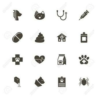 Pet Vet Icons Perfect Black Pictogram On White Background Flat