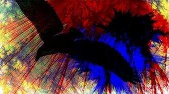 Download wallpaper 1366x768 birds flying paint stripes bright