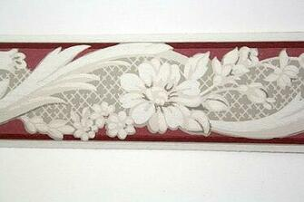 Wallpaper Border   TRIMZ   Burgundy Gray and White Floral Design