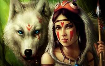 Indian Girl With Wolf Wallpaper download   Download Indian