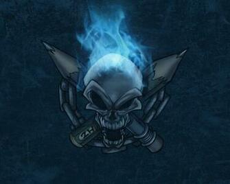 Download Artistic Skulls wallpaper blue flames skull