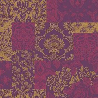Vymura Brocade Suede Effect Wallpaper in Purple and Gold   M0891