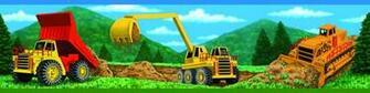 Kids Construction Trucks Wallpaper Border for Boys
