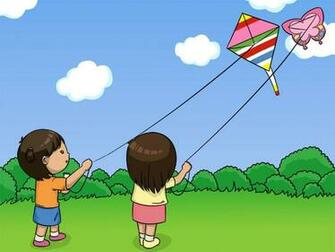 pictures of children flying kites Lisa and Rina are flying kites