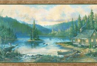 Log Cabin Canoes Ducks Birch Trees Country Wallpaper Wall Border