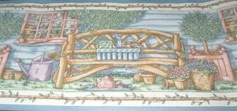 Wallpaper Border 60ft Primitive Country Porch Rustic Log Cabin Branch