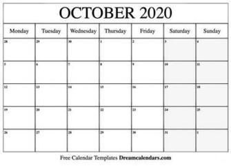 October 2020 Printable Calendar Dream Calendars