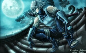 Kakashi Hatake Katana Full Moon Ninja Anime Wallpaper HD g08 Male