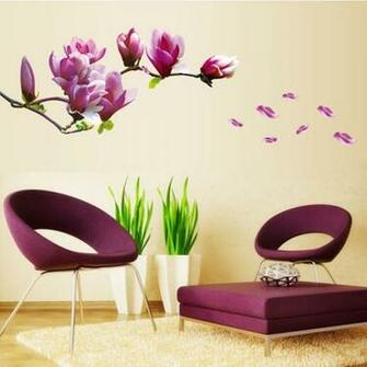 Min Order 9 9 Purple Magnolia Flower Wall Stickers Wallpaper Removable