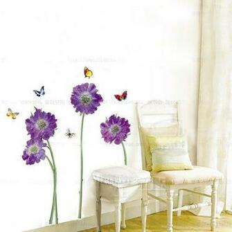 Hunnt Purple Flower Butterfly Removable Quote Vinyl Room Wall Decals