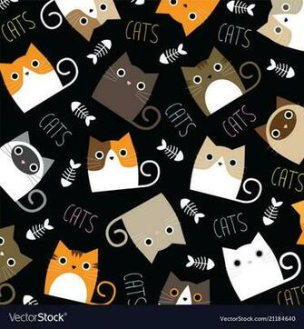 Cute cats wallpaper Royalty Vector Image   VectorStock