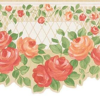 Peach Floral Trellis Border Wallpaper eBay