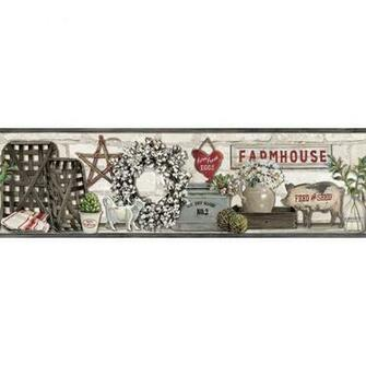 York Wallcoverings Farmhouse Shelf Wallpaper Border LG1300BD   The