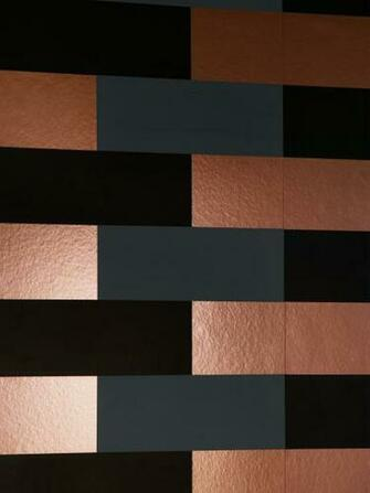 Block Wallpaper   Copper Burnish Grey Black Monument Interiors