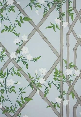 Jasmine Lattice Wallpaper A decorative wallpaper featuring a floral