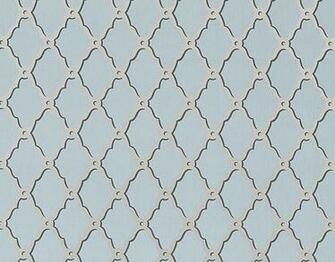 wallpaper with a trellis design in metallic gilver on slate grey