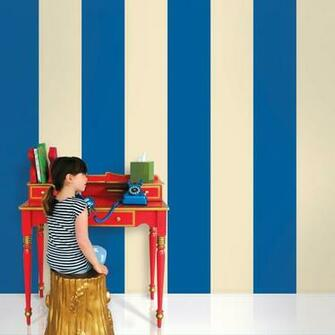 Stripes BlueCream Removable Wallpaper   WallCandy Arts