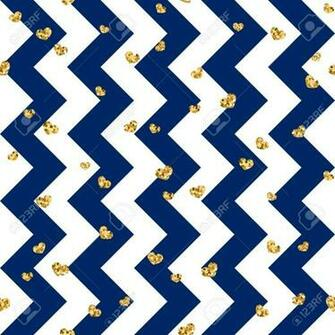 Gold Heart Seamless Pattern Blue white Geometric Zig Zag Golden