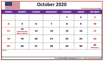 Monthly 2020 The United States USA Holidays Calendar