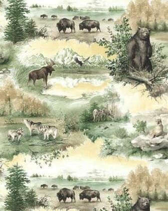 Details about WILD LIFE WOLVESMOOSEB EARBUFFALO Wallpaper TM19733