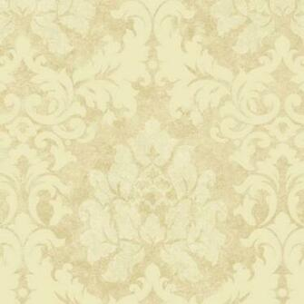 Beige Tan Damask Leaves Wallpaper Traditional Wallpaper   Dark Brown