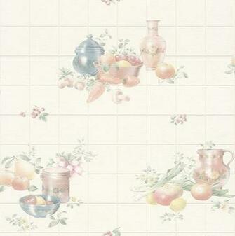 Rasch Fruit Bowl Vinyl Kitchen Wallpaper   884913   Cream  Sample