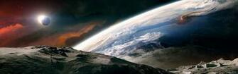 Outer space moon earth tranquility dual monitor wallpaper 3840x1200