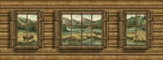 Log Cabin with Windows   Moose Mural   Lodge Outdoors Wallpaper