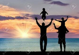 Concept Of Gay Parents Silhouette Of Happy Gay Parents With