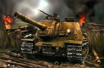 World of Tanks Painting Art SPG ISU 152 tank military battle