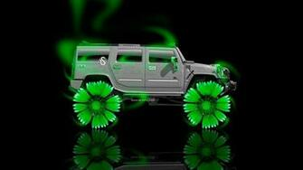 Hummer H2 Fantasy Neon Flowers Car 2014 Green Neon HD Wallpapers