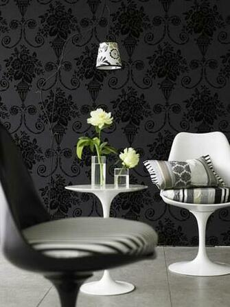 black wallpaper decor floral motifs