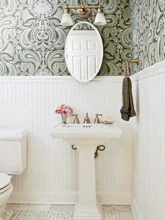 bold patterned wallpaper looks wonderful above classic beadboard and