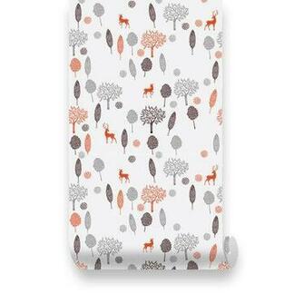 Wallplays  Forest Deer PEEL STICK Repositionable Fabric Wallpaper