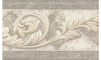 Vintage Borders Silver Cream Molding Swirls Wallpaper Border