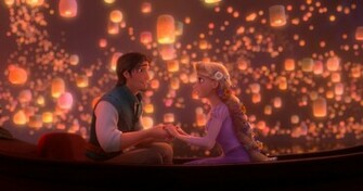 Rapunzel and Flynn from Disneys Tangled Movie Desktop Wallpaper