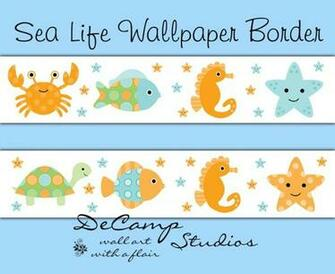 Sea Life Ocean Creatures Wallpaper Wall Border Nautical Nursery [439