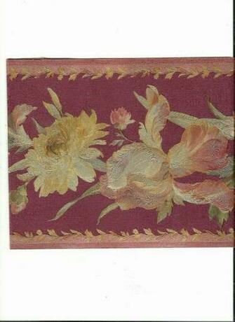 Burgundy and Mauve Floral with Gold Touches Wallpaper Border 51306200
