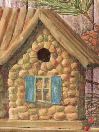Rustic Log Cabin Birdhouses Pinecones Golden Brown Wallpaper Border