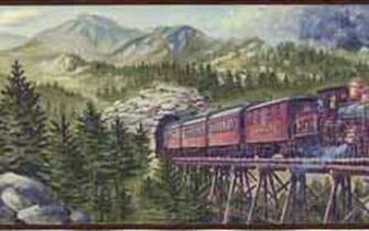 Mountain Train Wall Border   Wallpaper Border Wallpaper inccom