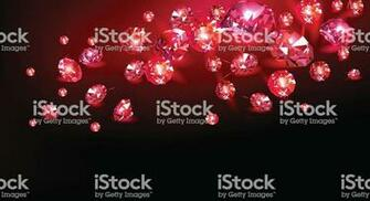Red Rubies Scattered On A Black Background Vector Illustration
