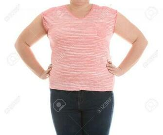 Overweight Woman On White Background Closeup Weight Loss Stock