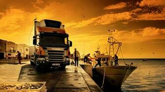 Awesome Orange Scania Truck Wallpaper PC Wallpaper with 1920x1080