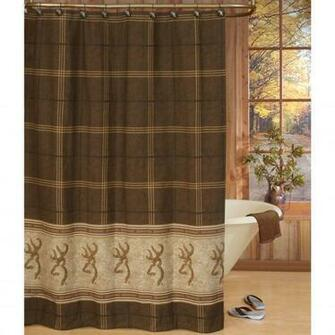 Home BrowningR Buckmark Shower Curtain Chocolate 6 Square